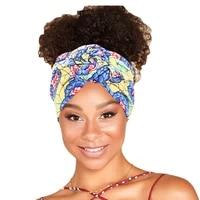 new style african printed stretch cotton headband womens sports elastic turban scarf bandage headgear ladies hair accessories