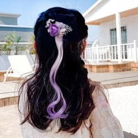 artificial flowers wig hair clips for baby girls children pigtails hair clips colorful rinbow wig fashion baby hair accessories