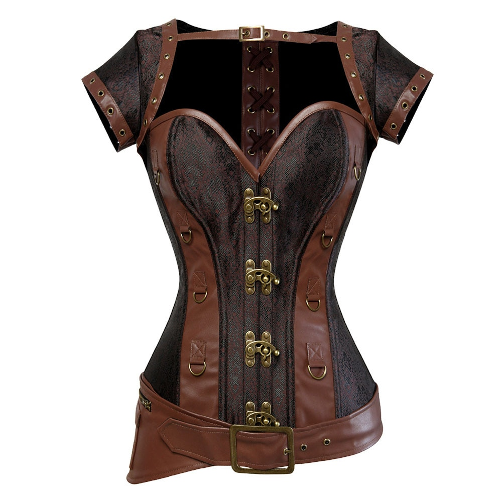 Corsé de acero en espiral Steampunk gótico Vintage para mujer, corsé marrón, ropa de abrigo, corsé, corsé, ropa de pirata, ropa de fiesta