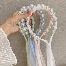 New Pearl Hair Band Cute Lace Head Hoop Refreshing Twist Braid Bandage Headwear Lovely Sweet Girl Ha
