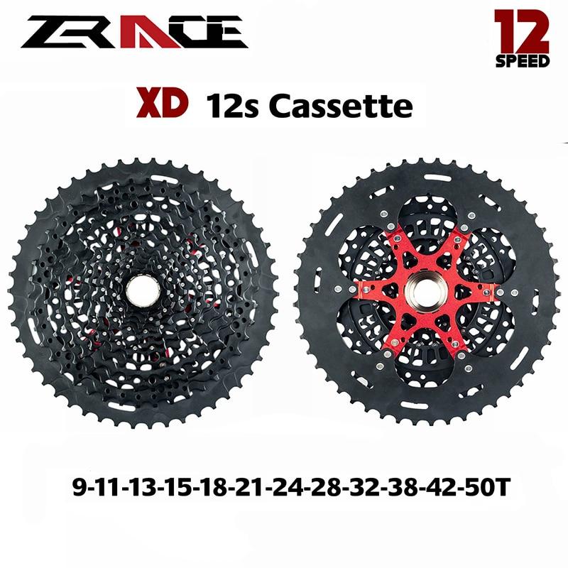 Zrace 12s xd bicicleta cassete 12 velocidade mtb bicicleta roda livre 9-50 t-preto, compatível para sram xd freehub, para x01 gx nx águia