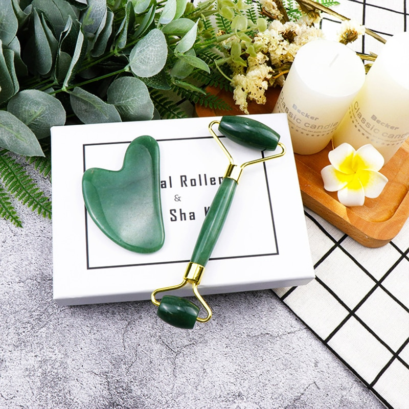 Facial Massage Roller Double Heads Jade Stone roller for Face Lift Body Skin Relaxation Slimming Beauty Health Skin Care Tools