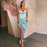 berylove a line pleated evening dress tube elegant emerald formal party gown prom dresses satin long robe de soir%c3%a9e de mariage