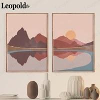 Affiche toile de paysage abstraite Style Boho  peinture solaire et de montagne  Art mural  decoration de la maison  salon