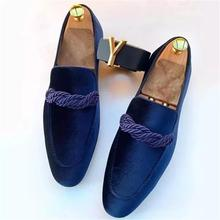 High-quality Men's Shoes Artificial Suede Pointed Loafers Low-heeled Retro Classic Slip-on Fashion E