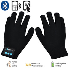 Rechargeable Wireless Bluetooth Gloves Women Men Winter Knit Warm Mittens Call Talking Touch Screen