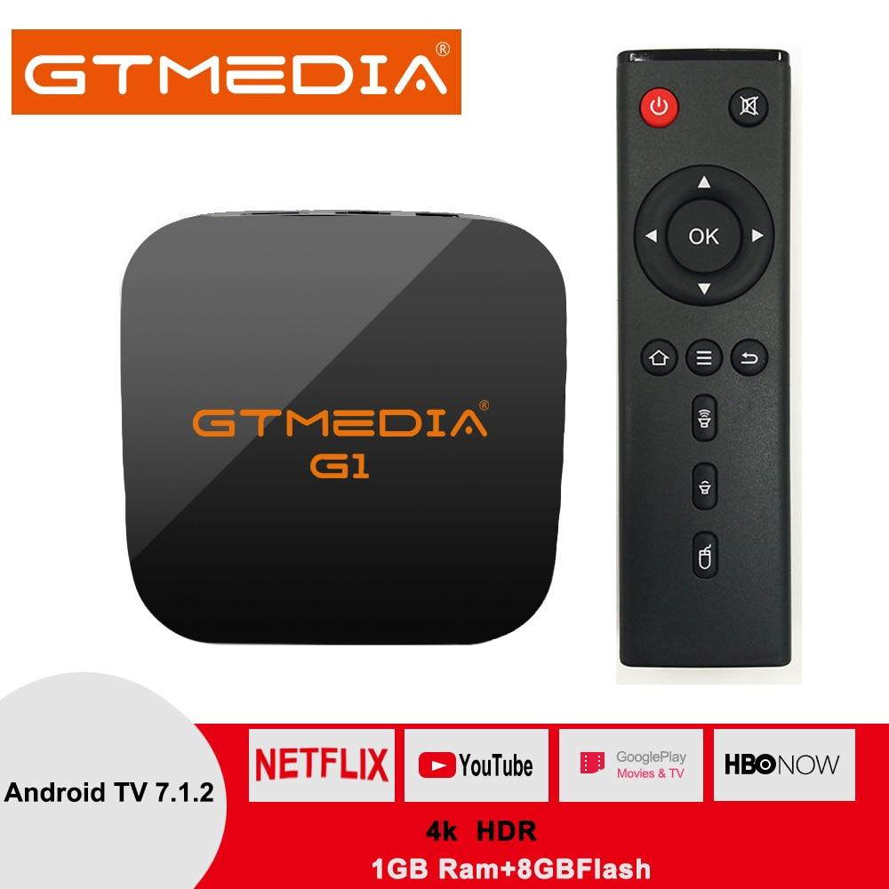 Original Global GTMEDIA G1 4K H.265 Caixa Smart TV Android 7.1 TV Ultra HD 1G 8G WI-FI google Elenco TV IP Set top Box Media Player