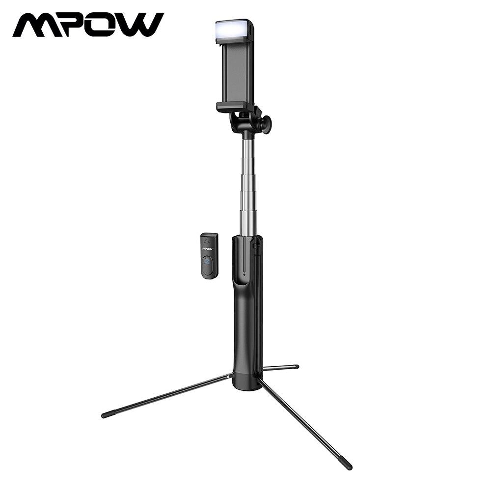 Mpow 3 en 1 Bluetooth trípode/palo Selfie con luz de relleno Control remoto inalámbrico Selfie Stick Bluetooth Control para Huawei P30
