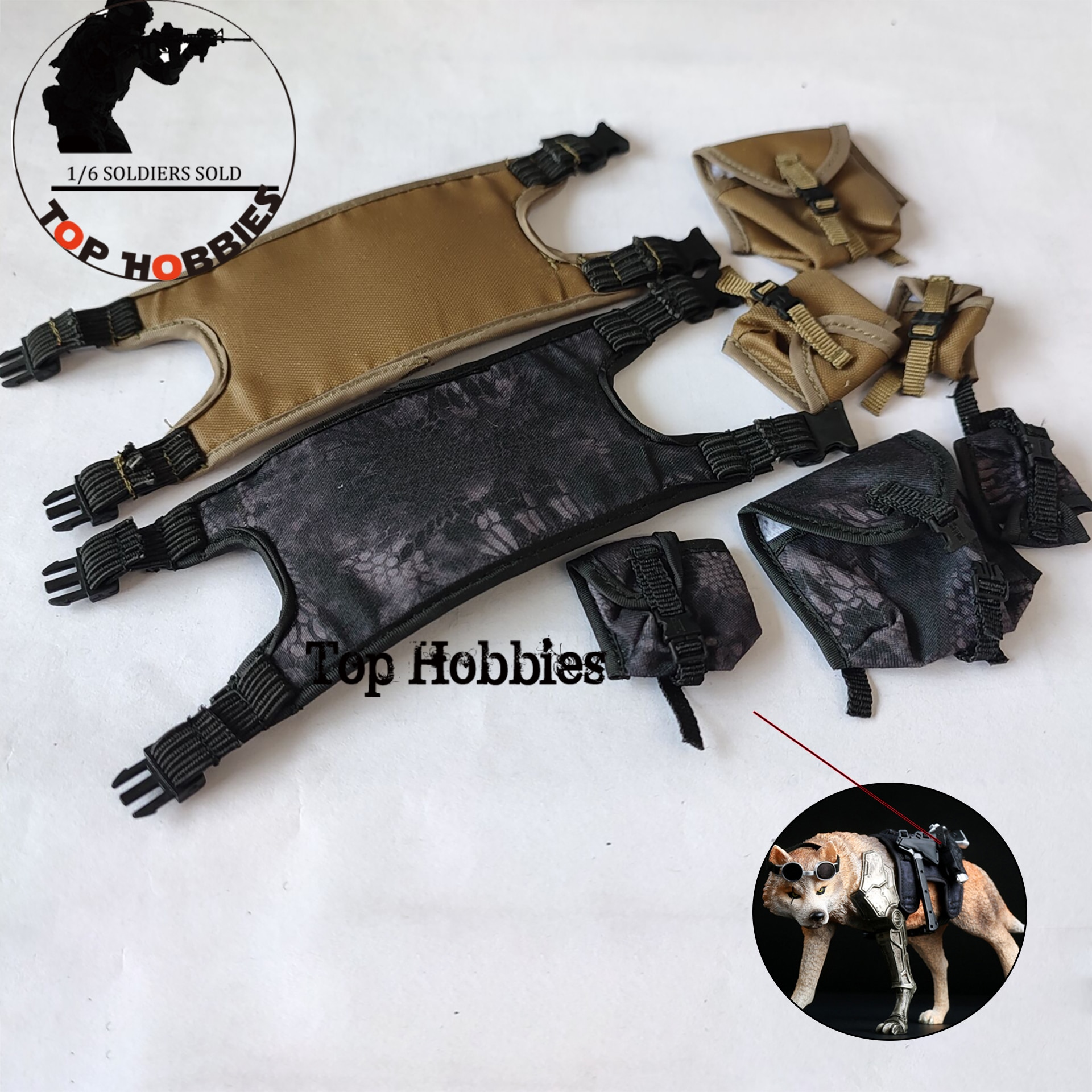 AS TOYS Wolf of war Wolf AS002 Black/Sand Chest Hanging Vest Resin Fabric For 1/6 Sca Animal Model not include wolf
