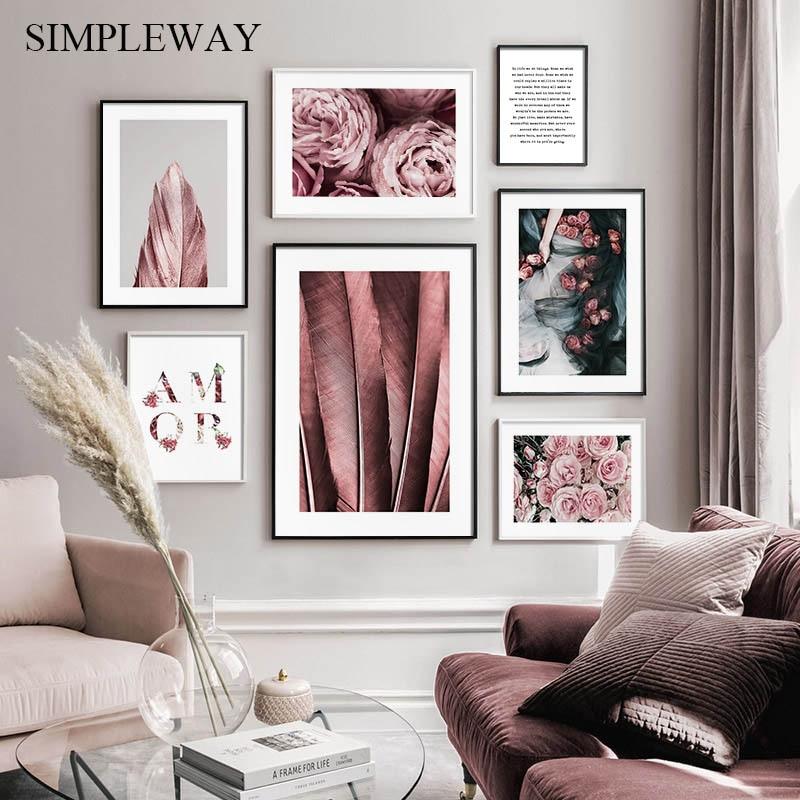 Póster escandinavo Estilo nórdico estampado Floral pluma Rosa flor lienzo pintura arte de pared moderno cuadro decoración de sala de estar
