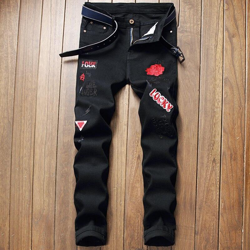 Мужские джинсы с вышивкой, новинка 2021, мужские джинсы с вышивкой, мужские Стрейчевые джинсы, черные брюки с вышивкой и мультяшными буквами, б...