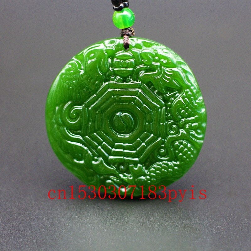 Natural Green Jade Dragon Phoenix Gossip Pendant Necklace Chinese Carved Charm Jewelry Fashion Amulet for Men Women Lucky Gifts