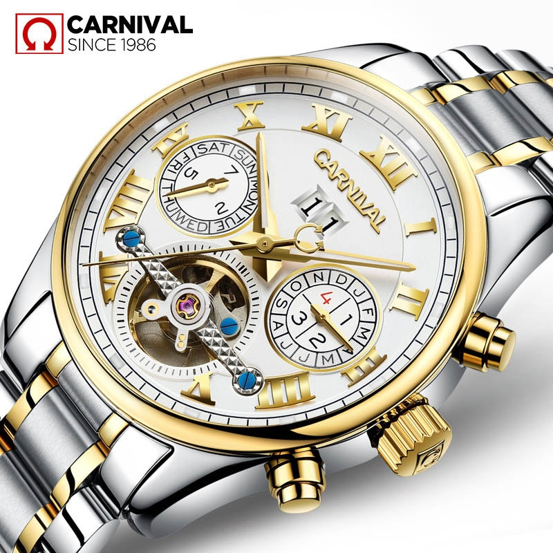 CARNIVAL Casual Fashion Men's Calendar Hollow Tourbillon Week Waterproof Luminous Stainless Steel Mechanical Watch Reloj Hombre