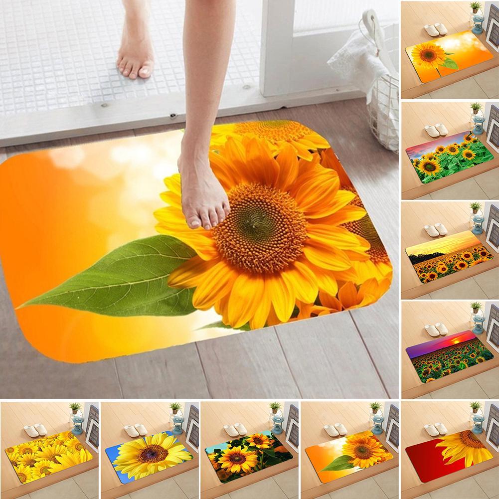 Sunflower Flannel Non-slip Water Absorption Door Mat Carpet Floor Bathroom Decor Hot