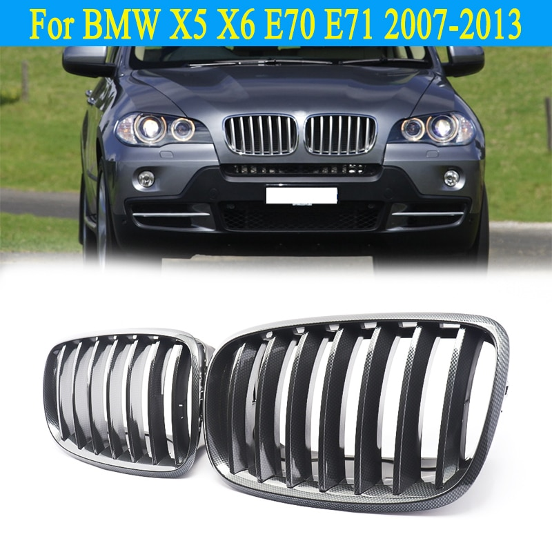 Magickit par para bmw x5 x6 e70 e71 2007-2013 olhar de fibra de carbono grade dianteira rim