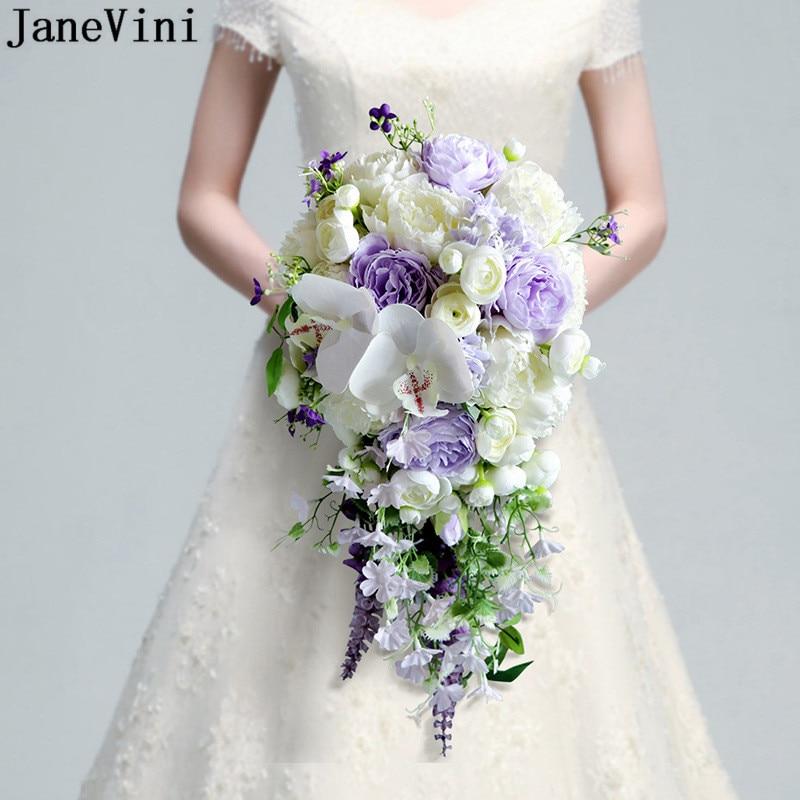 JaneVini-باقة زهور الزفاف ، ورد اصطناعي ، ورد صناعي ، شلال أرجواني ، 2021