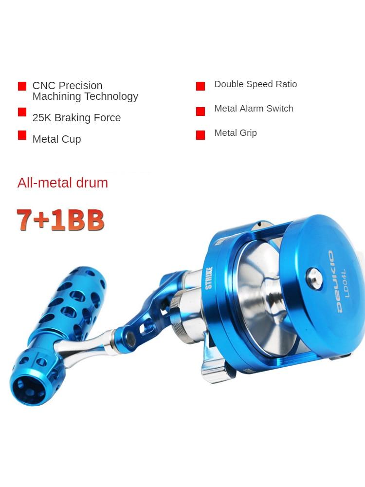 Fishing Wheel Slow Rolling Full Metal Drum Wheel 25kg Strong Brake Force Ship Iron Plate Wheel 4.5:1 Double Speed Ratio Reel enlarge