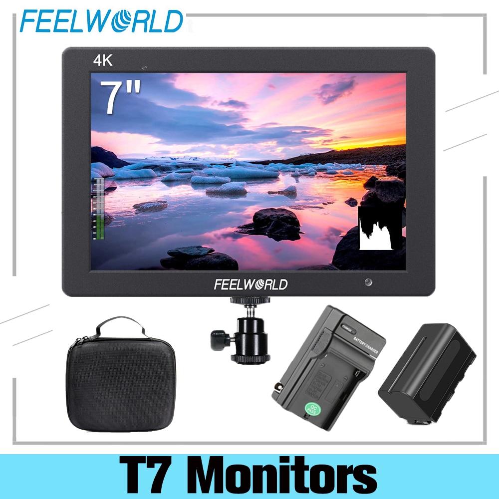 Feel world T7 7 بوصة IPS 1920x1200 HDMI على كاميرا جهاز المراقبة الميدانية دعم 4K المدخلات الناتج شاشة عرض فيديو + NP750 بطارية + شاحن