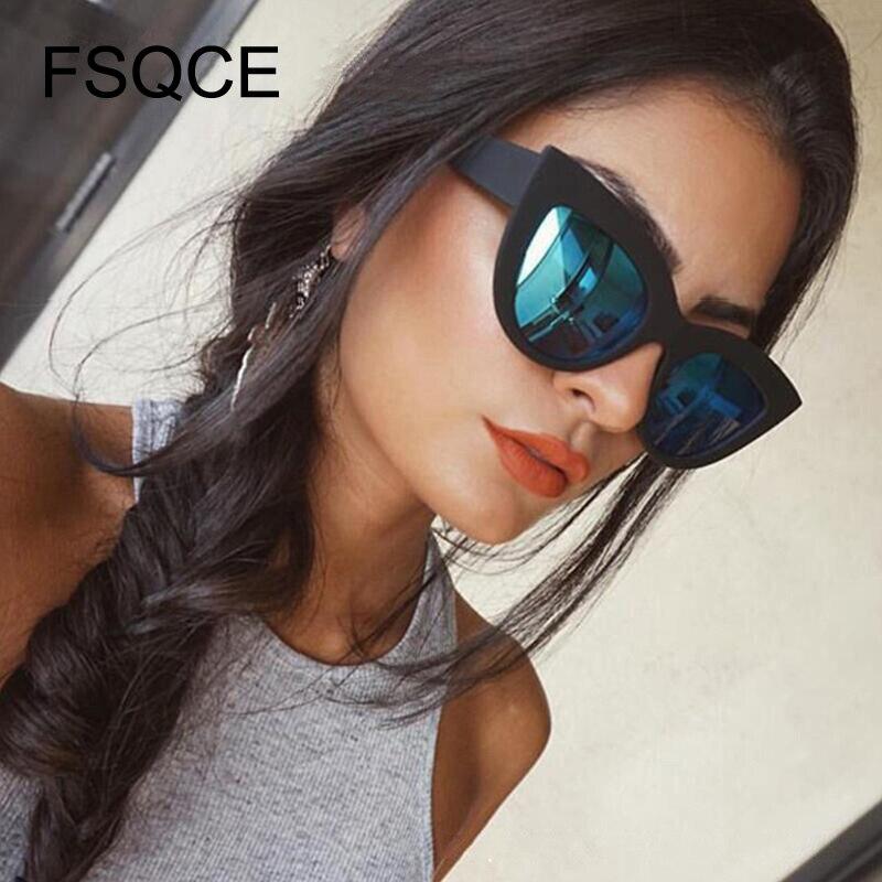 Gafas de sol de las mujeres Vintage gafas de sol de las mujeres lentes de sol ojo de gato Retro diseñador de la marca gafas de sol de mujer rosa espejo gafas de talla grande