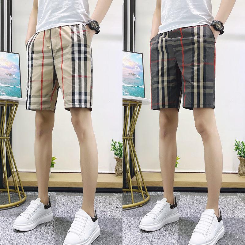 2021 New Men's Fast Dry Slim Plaid 5-Point Shorts Social Boy 4-Point Beach Pants