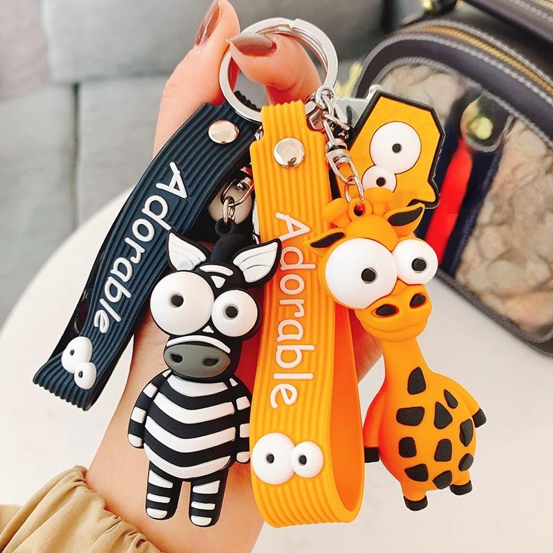 Eye popping giraffe zebra doll pendant key chain cartoon cute car key chain ring student bag Pendant 2020 new key chain duck key chain mickey daisy key ring pendant student schoolbag pendant the best gift