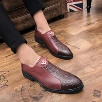 mens shoes original british retro mens formal flat shoes pointed red leather casual oxford wedding work shoes elegant shoes 44