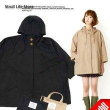 Japon imperméable à leau pluie Poncho femmes coréen imperméable noir Long manteau de pluie veste Long manteau femmes coupe-vent Gabardina Mujer cadeau
