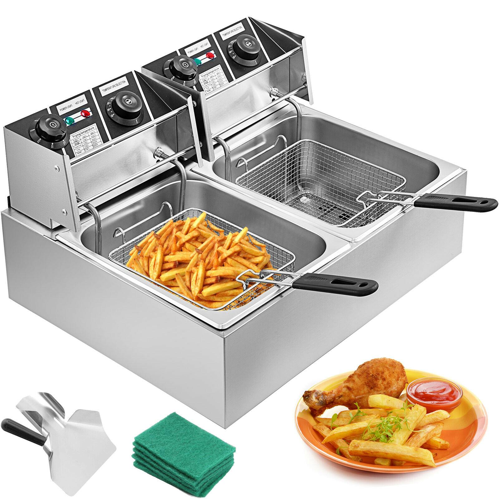 20l aço inoxidável fritadeira de gordura profunda 2x10l fritadeira zona fria gordura benchtop 5000w