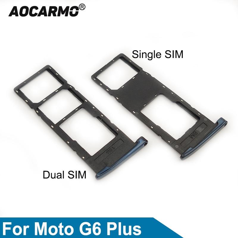 Aocarmo For Motorola Moto G6 Plus Dual & Single Sim Card MicroSD Holder Nano Sim Card Tray Slot Repl