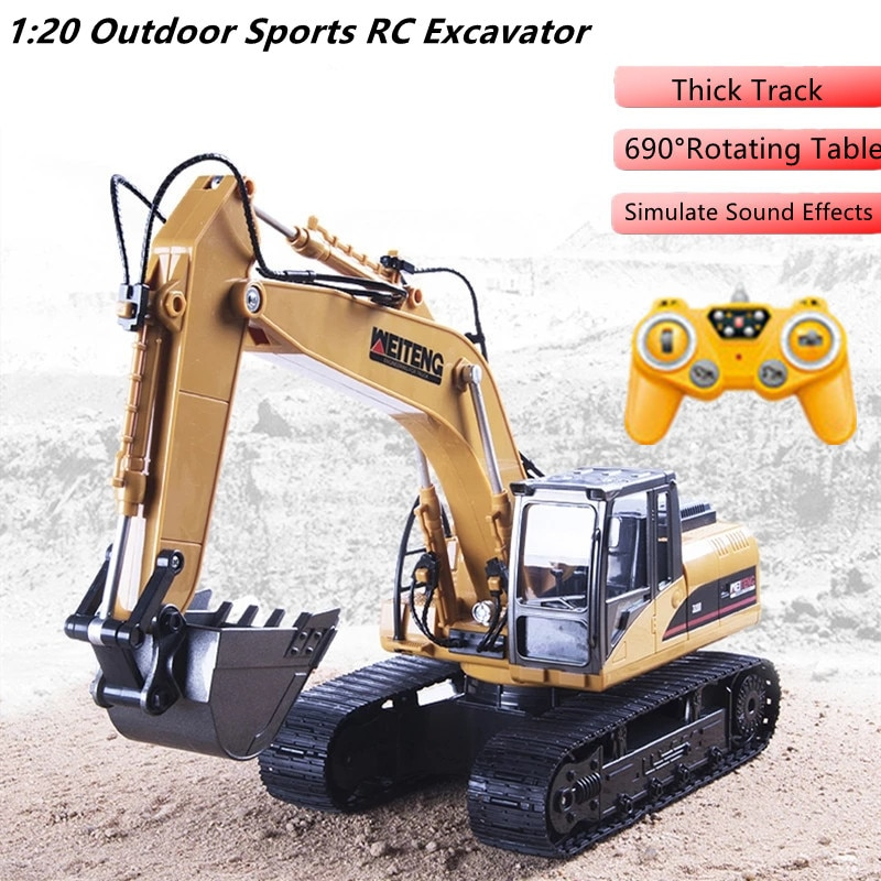 Alloy Bucket Remote Control Truck 2.4G 1:20 Cool Light Automatic Presentation 690 Degree Rotating Simulation Sound RC  Excavator