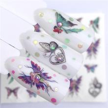 YWK 1 pièce décalcomanies pour ongles dégradé transfert deau autocollant fleur papillon enveloppes curseurs adhésif décorations manucure