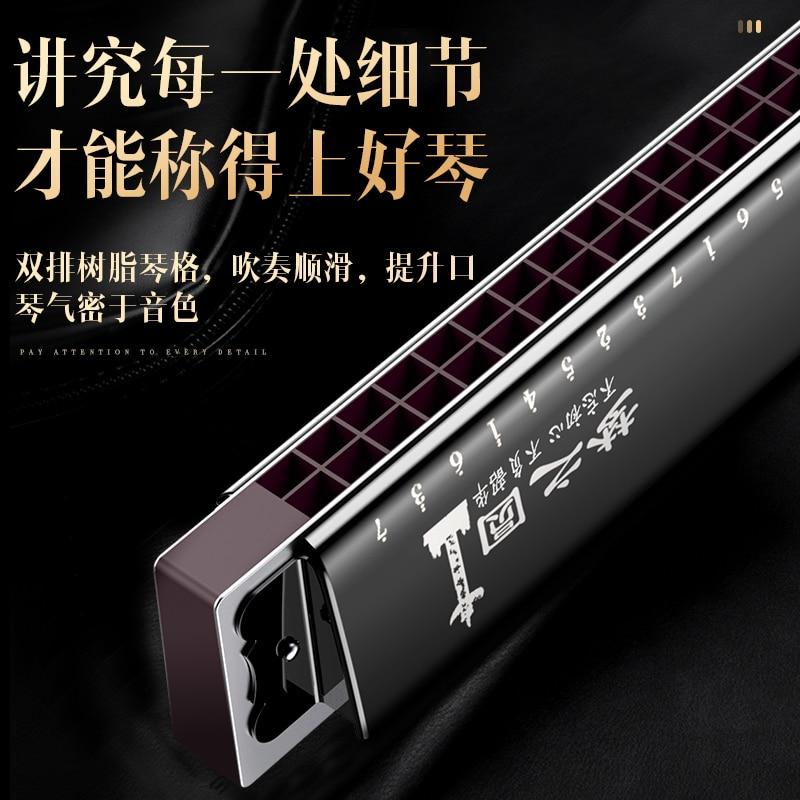28-hole Polyphonic C Harmonica Musical Instrument Small Harmonica Original Mouth Piece Harmonica De Blues Woodwind Instruments enlarge