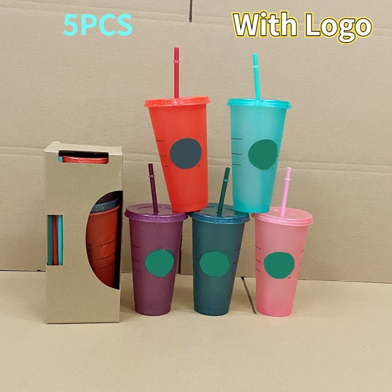 5Pcs 710ml Color Changing Cup with Straw and Logo Coffee Cup Reusable Plastic Tumbler Matte Finish P