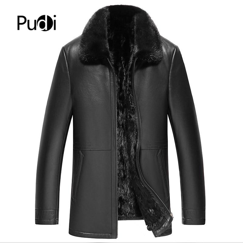 Pudi MT111 جديد رجل الموضة ريال فرو منك معطف سترة حقيقية جلد الغنم سترات من الجلد المعاطف الشتوية الدافئة أبلى