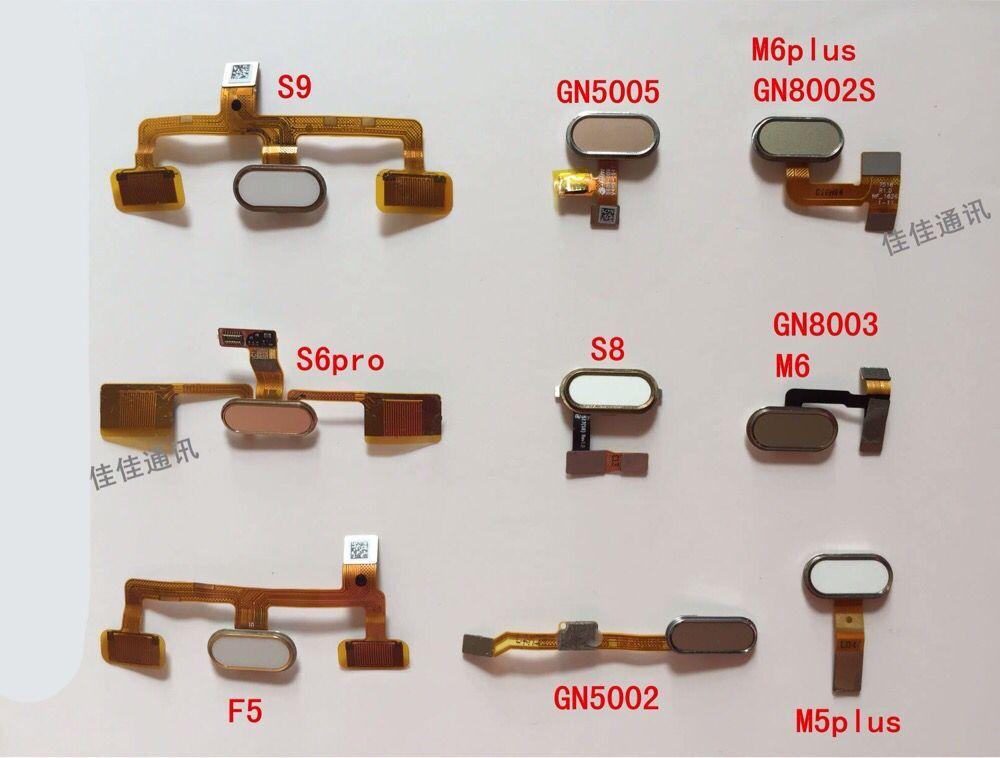 Gionee S9 S6PRO GN5005 GN5003 F5 M5plus Sensor de huella digital Cable flexible conector IC Backspace Home botón placa de circuito impreso pieza de reparación