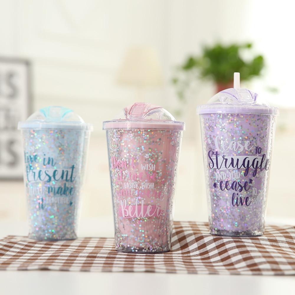 Étoiles paillettes modèles bouteille deau 420ML Double couche crème glacée conception innovante en plastique paille bouteille