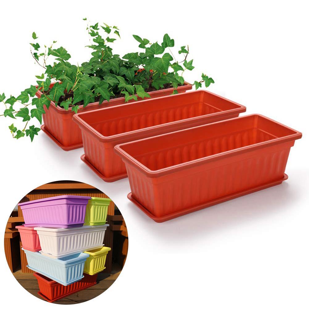 3 sztuk balkon kwiat ogrodowy Bonsai miska przedszkole sadzarka imitacja prostokątna sadzarka do kwiatów warzyw żywica sadzenia Pot