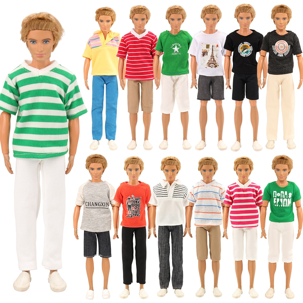New 3 Items /lot Random Pick Doll Casual Wear T-Shirt Trousers Summer Outfit Short Pants Clothes For Barbie Ken Doll Accessories 5 sets fashion casual wear doll clothes tops t shirt jacket pants outfits accessories for barbie boy friend ken dolls cloth toys