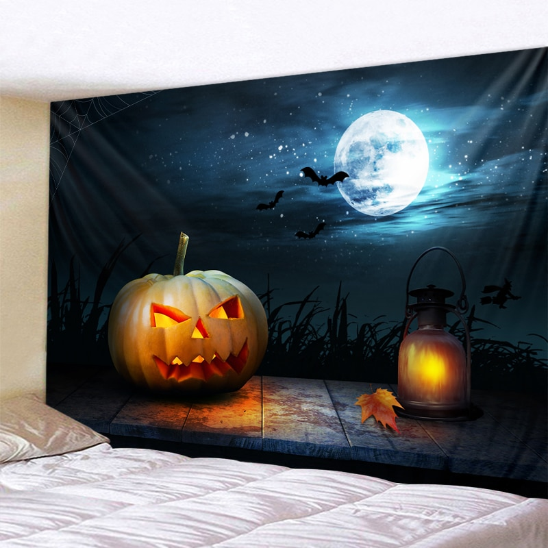 Halloween tapestry halloween pumpkin print halloween party wall decoration tapestry family bar halloween diy decoration halloween cartoon doll pumpkin witch cat party ideal decoration for club bar shop home showcase bar table shelf holiday decor