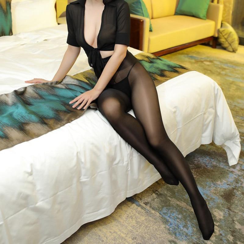 Nuevo Sexy 40 D brillante medias para las mujeres de talla grande medias abrir la entrepierna elástico medias con una línea entrepierna cintura alta