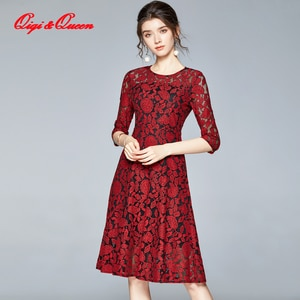 Qiqi&Queen Women Autumn Half Sleeve Mesh Patchwork Lace Dress Runway Vintage Work Casual Slim Sexy Party Dresses