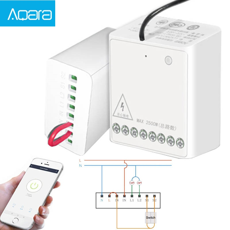 Aqara LLKZMK11LM Two-way Control Module Wireless Relay Controller 2 Channels Work For smart home APP