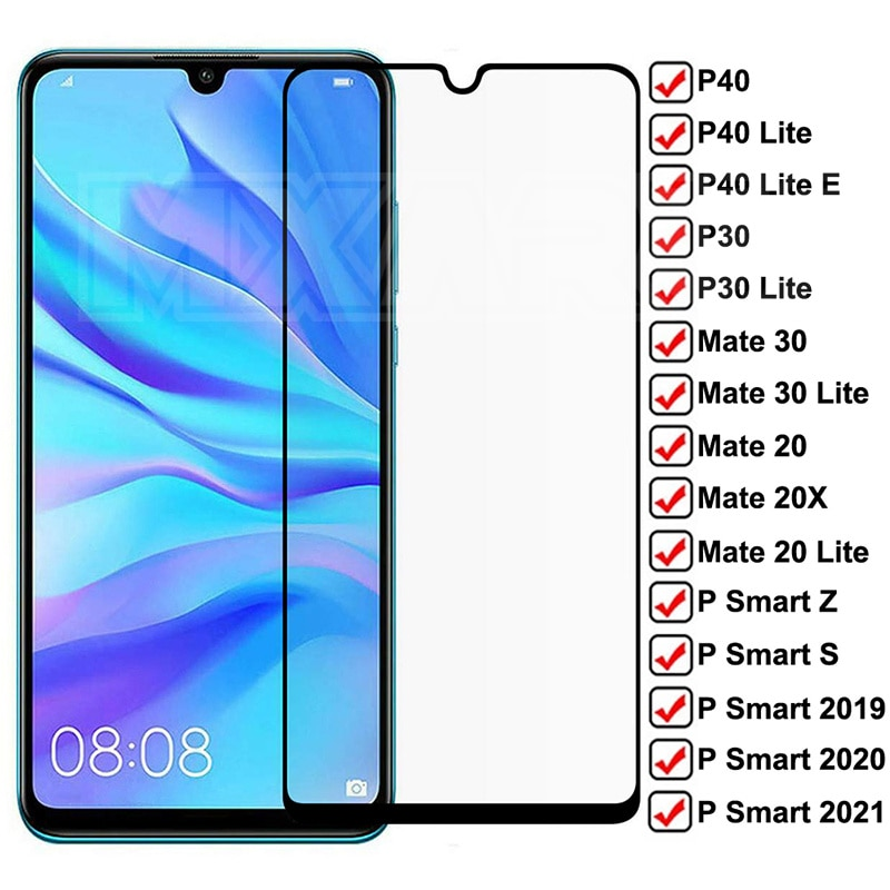 9D Tempered Glass For Huawei Mate 30 20 10 Lite 20X Screen Protector For Huawei P30 P40 Lite E P Smart 2019 Z S Protective Glass