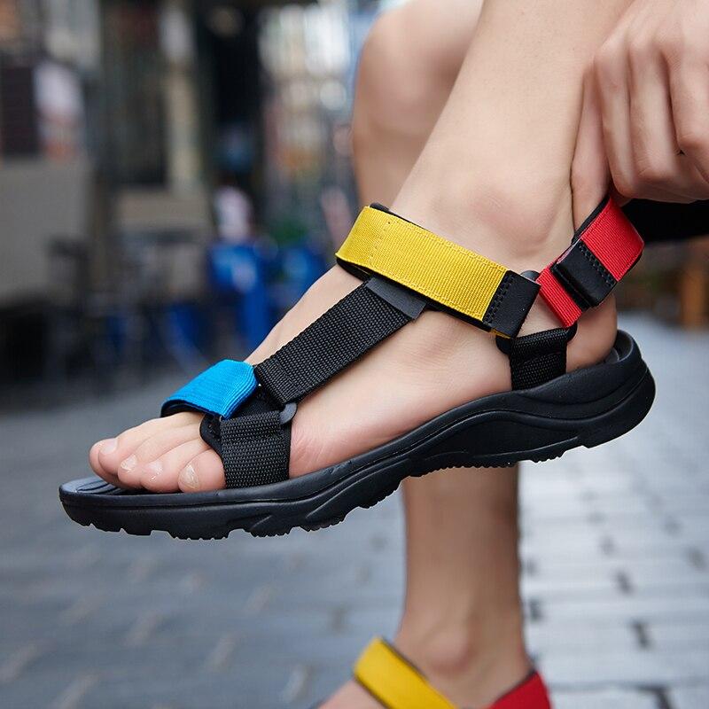 Sandalias de playa ligeras de EVA para hombre, zapatos planos de verano para exteriores, Sandalias deportivas de nailon con punta abierta, zapatos atléticos transpirables para hombre