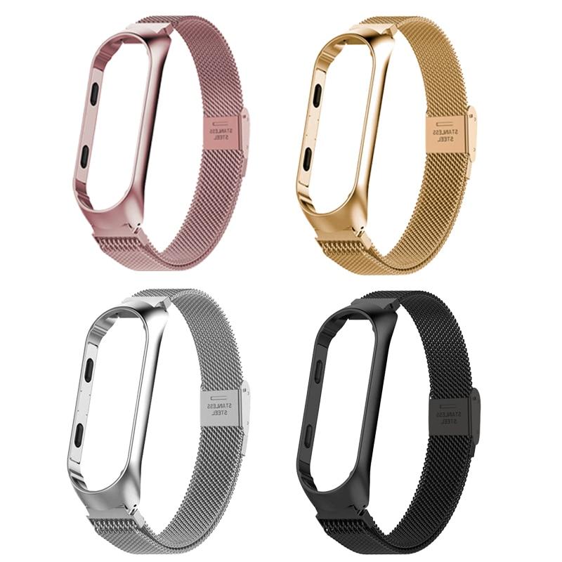 Mi Band 3 4 Strap Bracelet Metal Wristband pulseiras Xiaomi Mi Band 4 3 xiaomi Smart  Accessories Correa mi Band 3 4 wrist Strap