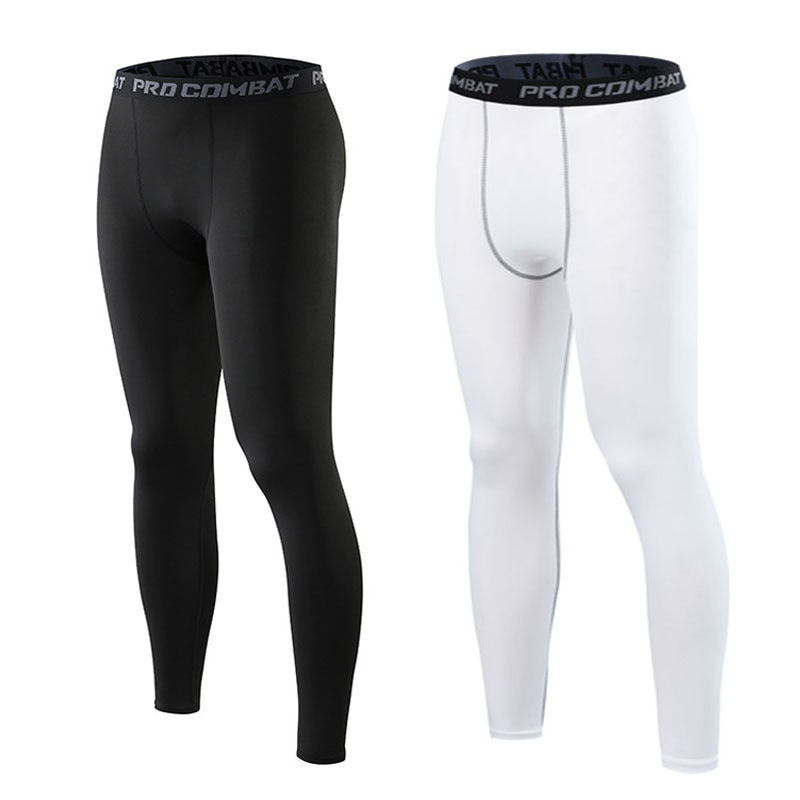 Compression pants men tight leggings thin elastic bottom solid color underpants