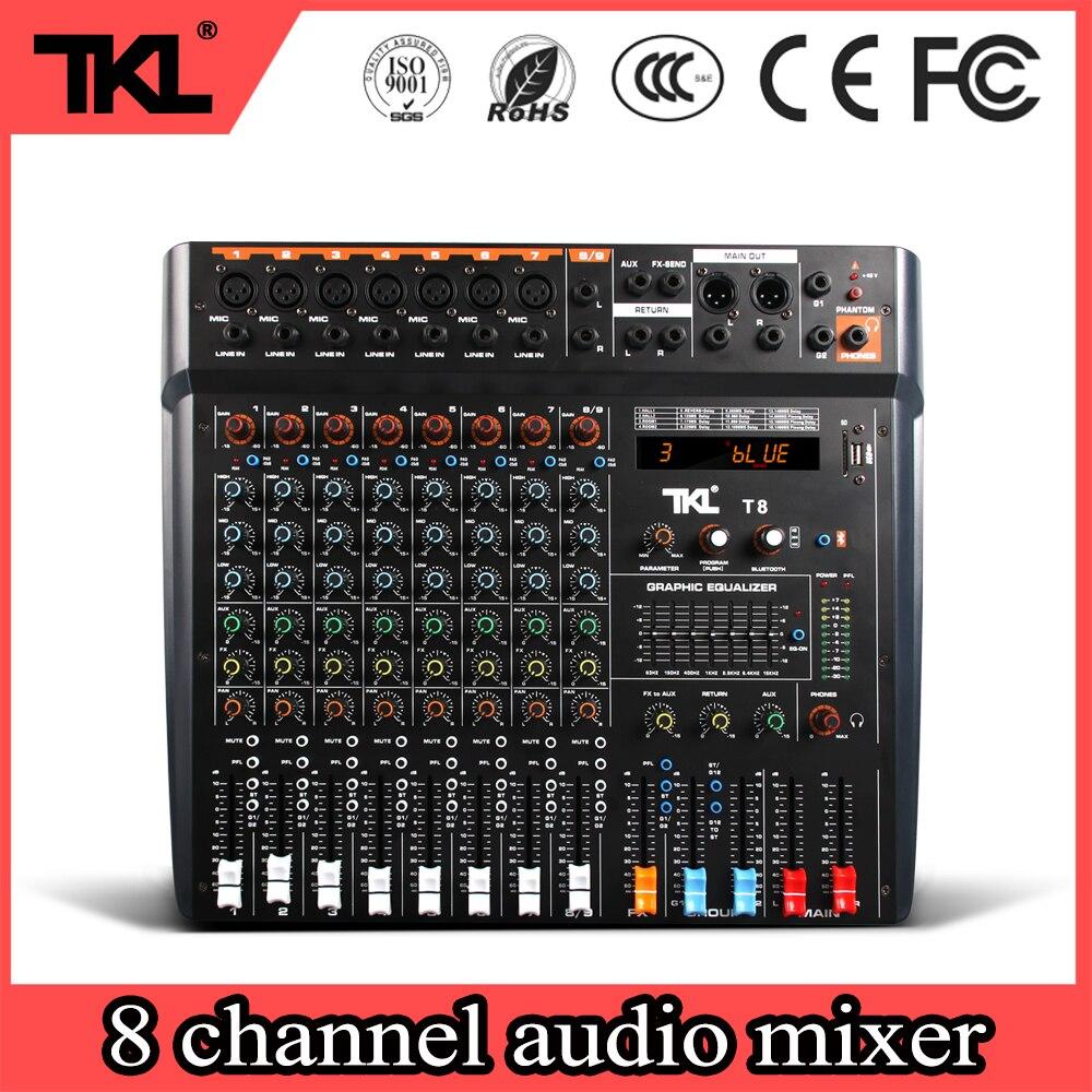 TKL-جهاز مزج الصوت الرقمي الاحترافي T8 8 قنوات DSP ، جهاز المسرح DJ