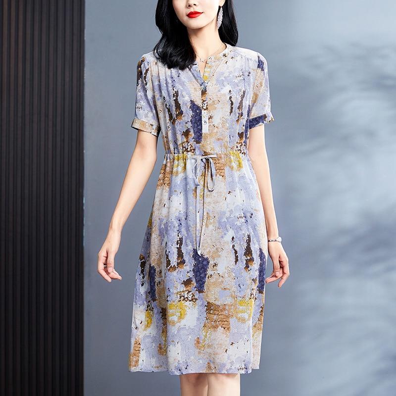 فستان نسائي صيفي أنيق بأكمام قصيرة مزين بطباعة عتيقة على الشاطئ فستان غير رسمي موديل 100% مصنوع من الحرير الخالص على شكل حرف a