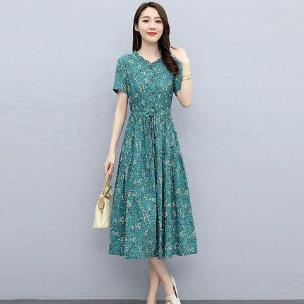 المرأة فستان القطن الأزهار الصيف نمط جديد الخصر التخسيس ضئيلة كل مباراة منتصف طول تنورة
