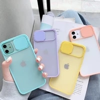 slide camera lens protection phone case for iphone 11 pro 12pro xr xs max 6s 7 8 plus x matte transparent soft back cover shell